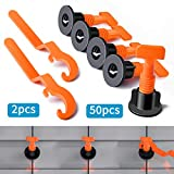Premium Tile Leveling System Kit with 50pcs Tile Leveler Spacers 2 Special Wrenches Reusable Tile Installation Tool Kit for Construction Like Building Walls   Floors.