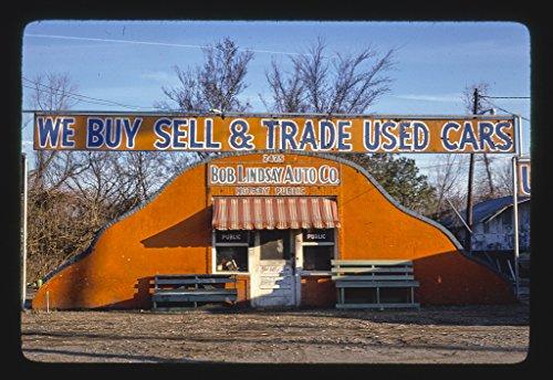 Vintography 16 x 24 Gallery Wrapped Framed Art Canvas Print of Bob Lindsay Auto Co, Greenwood Road, Shreveport, Louisiana 1979 Roadside Americana Ready to Hang ()