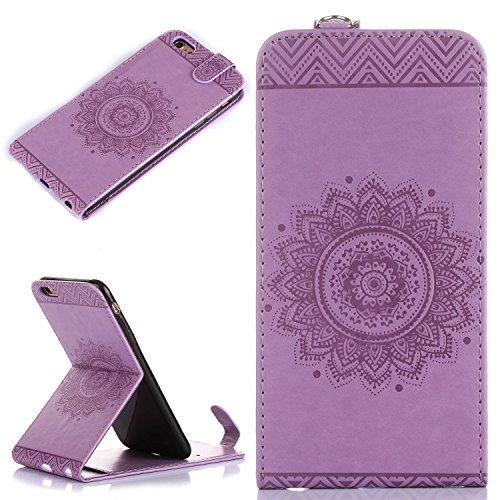 Für Apple iPhone 6 Plus (5,5 Zoll) Tasche ZeWoo® Ledertasche Kunstleder Brieftasche Hülle PU Leder Schutzhülle Case Cover - GH010 / lila