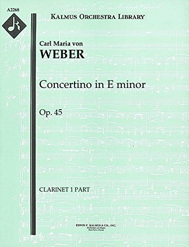 Books : Concertino in E minor, Op.45: Clarinet 1 and 2 parts (Qty 2 each) [A2268]