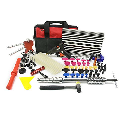 Wcaro® Total 60pcs Automotive Paintless Dent Hail Repair Tools Kit Red Dent Removel Slide Hammer PDR Tool with Metal Lifter Bridge,31pcs Glue Puller Tabs,Tap Down,Line Board,Glue Gun,Glue Sticks (Dentless Repair Kit compare prices)