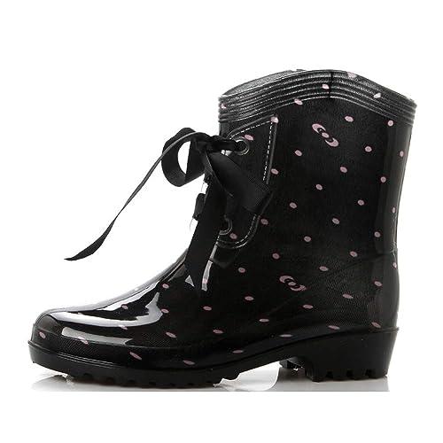 Botas de Lluvia para Mujer de BaronHong Plataforma con Cordones ...