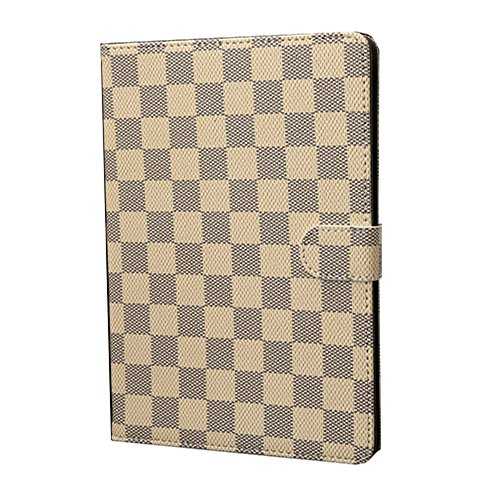 HM-ANT Luxury Fashion Grid Design PU Leather Case Cover Stand with Wake and Sleep Function for Apple Ipad Mini / Ipad Mini with Retina Display + Free Screen Protector (Khaki)