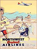 Northwest Orient Airlines Planting Rice in the Philippines Vintage Airline Travel Advertisement Art Collectible Wall Decor Poster Print. Poster measures 10 x 13.5 inches