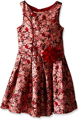 Bonnie Jean Big Girls' Drop Waist Brocade Dress, Red/Multi, 7