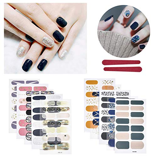 BILBAL 10 Sheets Full Nail Stickers, Nail Art Polish Stickers Strips Adhesive Manicure Decals Kit With 2PC Nail Files for Women Girls (B)