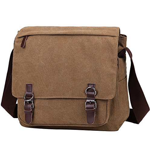 Berchirly Vintage Canvas Laptop Messenger Satchel Bag Bookbag Bag Schoolbag for Men and Women