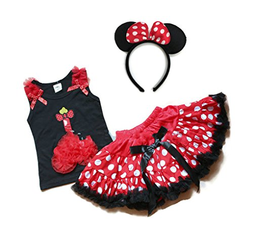 [Rush Dance 1st Happy Birthday Girl 3 Pcs Mickey Top & Tutu Pettiskirt & Headband] (Mickey Dress)