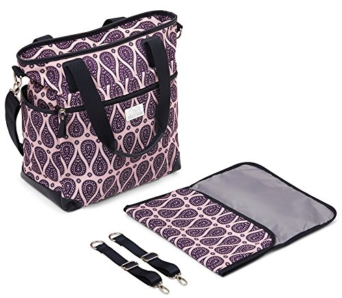 Stylish Designer Diaper Bag. Large Capacity Diapering Tote Baby Bag. Includes Adjustable Messenger Strap, Matching Change Pad and Adjustable Stroller Straps. from O&B Oliver & Benson