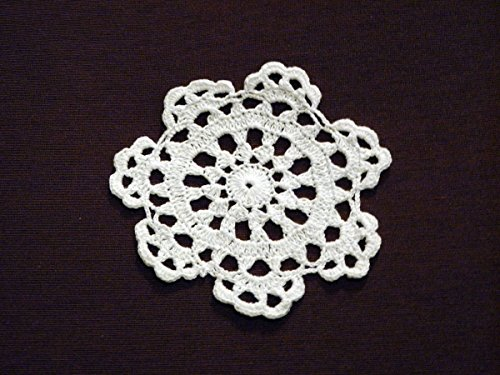Wholesale 12-piece Lot Handmade Medallion Crochet Lace Cotton Doily Coasters, 4-inch Round, White