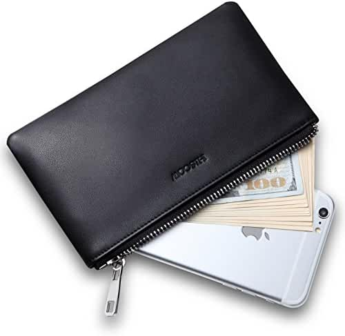 HISCOW Metal Zipper Wallet Pouch with Large Cash Compartment - Italian Calfskin