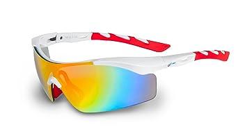 Nexi S-4 Sonnenbrille ideal als Sportbrille oder Fahrradbrille für Herren und Damen mit Revo S-4C, schwarz/weiß