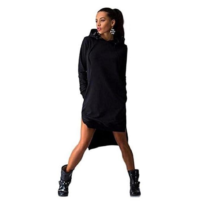 eef55c9e4a6bfe Rosennie Damen Sweatshirt Kleid Doppelspalte Hoodie Pullover Sweater Mit  Taschen (XXL, Schwarz)