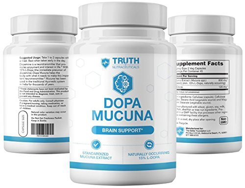 Truth Nutra - Dopa Mucuna - Brain and Mood Support - 90 Capsules - All Natural Ingredients - Improve Memory and Cognitive Function - Stimulate Dopamine Production - Research Backed Ingredients