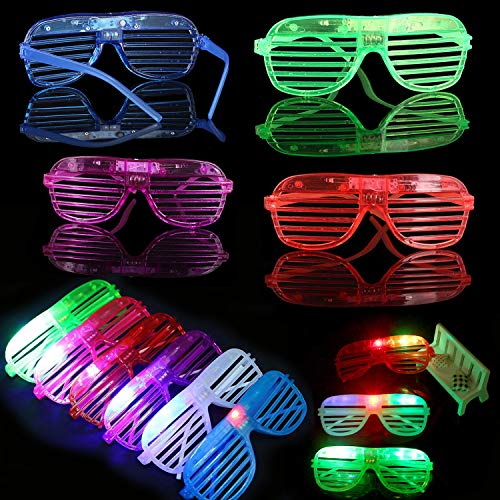 Randosk 24 Pack LED Glasses Glow in The Dark Party Favors Supplies for Kids Light Up Toy Bulk with Flash Light 3 Replaceable Battery for Mother's Day Birthday Holiday Outdoor Party by Randosk (Image #2)