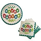Happy Easter Paper Plates & Napkins - Party Supplies for 18 Guests (Happy Easter Eggs)