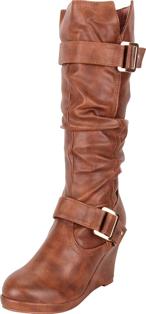 Tan Pu Cambridge Select Women's Strappy Chunky Wedge Mid-Calf Boot