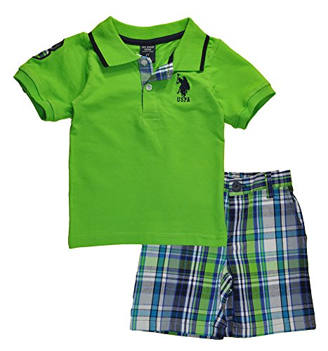 U.S. Polo Assn. Toddler Boys 2 Piece Big Pony Solid Pique Polo Shirt and Plaid Short, Lime, (2 Color Pique)
