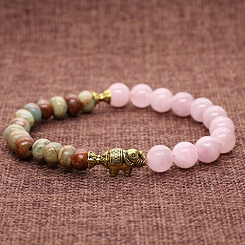 AmorWing Rose Quartz and Variscite Energy Bracelet Yoga Mala Reiki Healing Bracelet 8mm