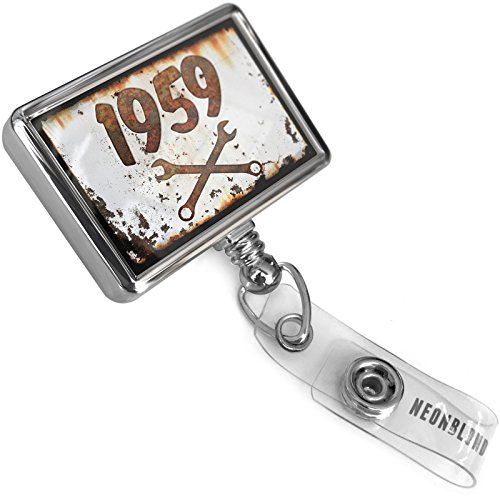 Retractable ID Badge Reel Rusty old look car 1959 with Bulldog Belt Clip On Holder (1959 Old Cars)