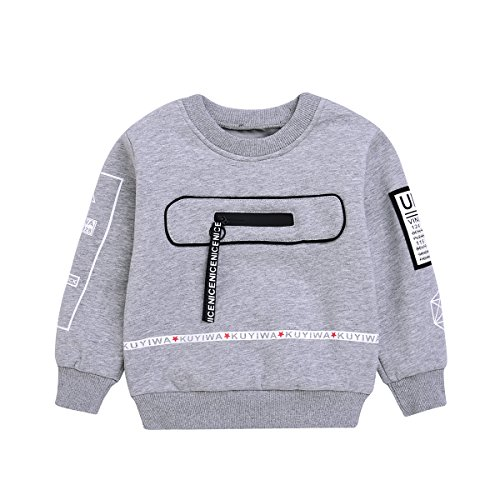 Price comparison product image Crewneck Sweatshirt Toddler Baby Boys Cotton Pullover Shirt with Fleece for 1-5T Kids (Size4T(for 39-43in), Grey)