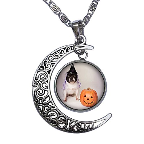 GiftJewelryShop Bulldog Witch Costume Halloween Pumpkin Crescent Moon Galactic Universe Glass Cabochon Pendant Necklace