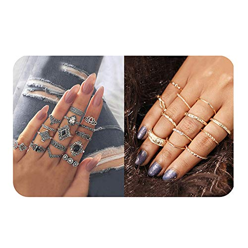 (Vintage Knuckle Ring Set Bohemian Silver Crystal Joint Knuckle Ring Set for Women)