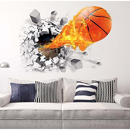 HaloVa 3D Flying Fire Basketball Wall Stickers, Broken wall, Removable Wall Arts Decals Murals for Children Kid Baby Room Decor