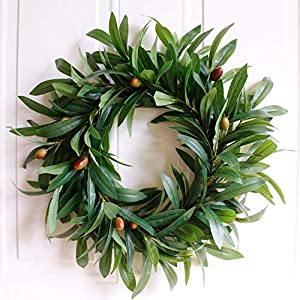 Dseap Artificial Nearly Real Olive Leaf Wreath 6