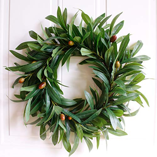 Wreath - Nearly Real, Olive Leaf: 17-Inches Rustic Farmhouse, Greenery Wreaths, Faux Foliage Wreath, for Front Door, Welcome, Christmas, Outdoor, Indoor - Round, Green (Wreath Mantel)
