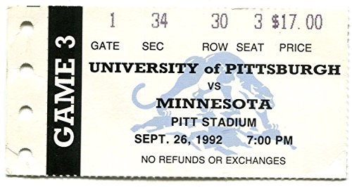 Pittsburgh vs Minnesota Ticket Stub September 26th 1992 Pitt ()