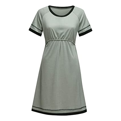 b4a0b5e79 Amazon.com - SSZZoo Maternity Pregnancy Maxi Dresses Short Sleeve Nursing  Baby Breastfeeding Nightdress Solid Color (L2