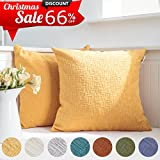 Decorative Pillow Cover - Kevin Textile Decor Soft Solid Velvet Toss Throw Pillow Cover Christmas Fashion Striped Decorative Pillow Case Handmade Cushion Cover for Couch, 18x18 inches,2 Pieces,Primrose Yellow