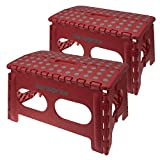 2 Samsonite Wide Red Folding Step Stool Non Slip With Handle 250 lb Capacity Stepping