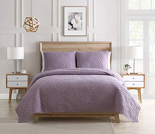 Bourina Bedspread Coverlet Set Lavender - Pre-Washed Microfiber Ultra Soft Lightweight Oversized 3-Piece Quilt Set King, Lavender (Lavender Quilt Set)