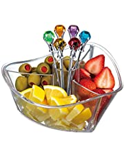 Prodyne Happy Hour Clear with Colorful Diamond Head Martini Picks Garnish Server (Set of 6), Clear