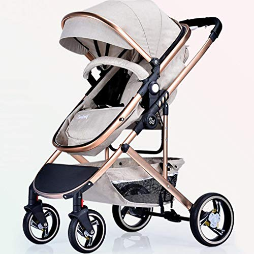 High Landscape Baby Stroller Multi-Function Visible Sunroof Two-Way Adjustable Can Sit/Reclining Trolley Four-Wheel Damping One-Handed Car Suitable for 0-3 Years Old,Beige