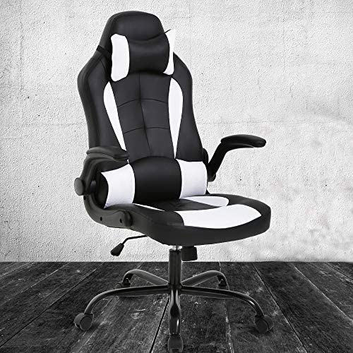 PC Gaming Chair Ergonomic Office Chair High Back Desk Chair Racing Executive PU Leather Computer Chair with Headrest Armrest Task Rolling Swivel Height Adjustable Chair for Women Adults, White