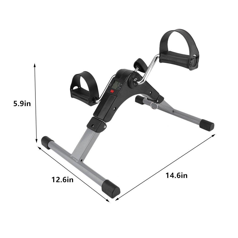 Graspwind Pedal Exerciser Mini Floor Foot Pedal Digital Foldable Exerciser Leg Machine - LED Under Desk Exerciser Folding Exercise Bike-Indoor Exercise Bike