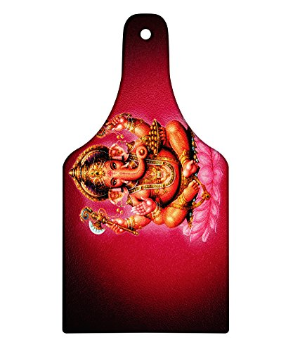 Lunarable Eastern Cutting Board, Elephant Figure Four Armed Lord on Lotus with Mouse Bohemian Animal Icon Print, Decorative Tempered Glass Cutting and Serving Board, Wine Bottle Shape, Fuchsia Orange by Lunarable