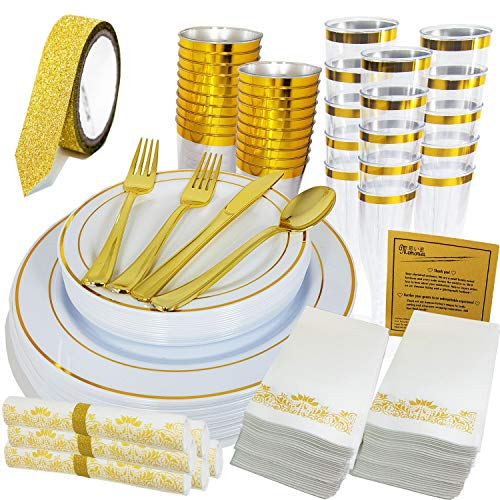 Disposable Gold Plastic Dinnerware Set for Special Events. (Large and Small Plates, Tumblers, Champagne Flutes, Silverware, Napkins, Bonus Glitter Ribbon Tape). 200+1 Pcs for Party of 20.