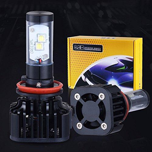 Noza Tec LED Headlight Bulbs Conversion Kit - H11 CREE 6000K Cool White 8000Lm 80W Bulbs