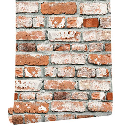 HaokHome 22071 Realistic Faux Brick Wallpaper Orange Red/Grey/White for Home Kitchen Decor 20.8