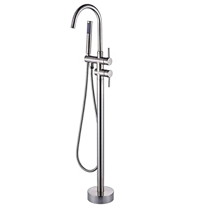 Fapully Luxury Bathroom Free Standing Bathtub Faucet Tub Filler With Hand  Shower Brushed Nickel