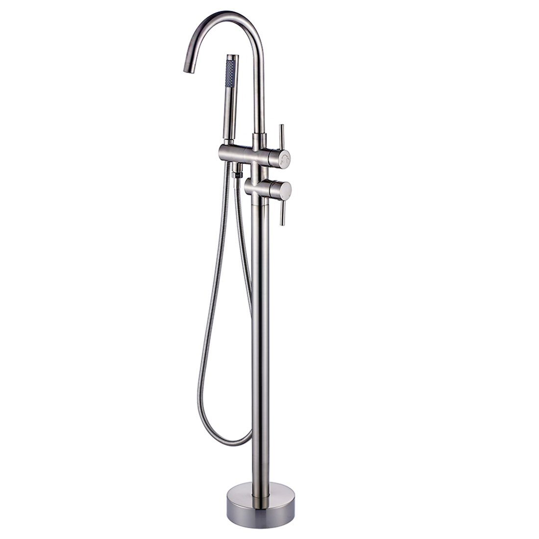 Fapully Luxury Bathroom Free-standing Bathtub Faucet Tub Filler with Hand Shower Brushed Nickel
