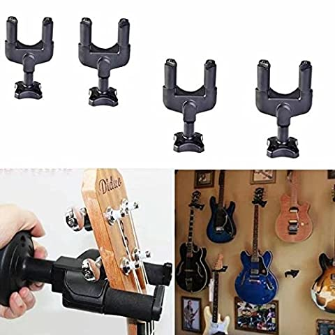 KingFurt 4Pcs Guitar Hanger Auto Lock Rack Hook Stand Holder Keeper Wall Mount Bracket Home Studio Display Fits All Size Guitar, Acoustic, Bass, Mandolin, Banjo Easy Installation Compact Plastic (Traveler Guitar Custom)