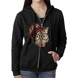 Womens Hoodie Sweatshirt Hipster Cat Long Sleeve Zip-up Hooded Sweatshirt Jacket L