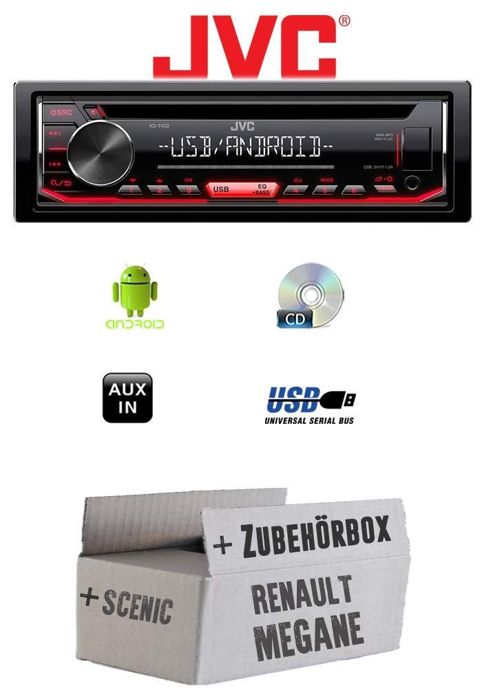 Autoradio Radio JVC KD-T402 USB CD MP3 Renault Megane /& Scenic 1 Einbauset Android Einbauzubeh/ör