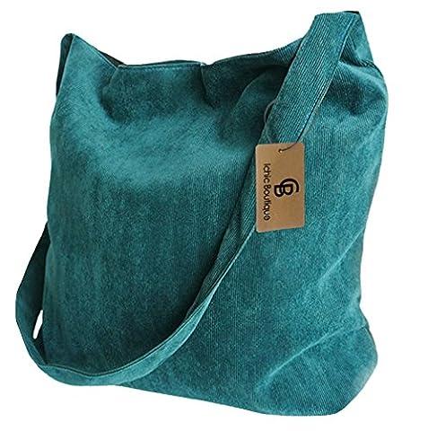 Messenger Bag Womens Shopper Tote Satchel Shoulder Crossbody Bag Bookbag,Dark Green - Corduroy Womens Shoulder Bag