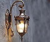 Outdoor Wall Lamp, Waterproof And Windproof Firm Wall Lamp, Retro Aluminum Wall Lights,Balcony Glass Wall Lamps,Terrace,Villa, Courtyard, Corridor E27, 111V~240V,23 43 21.5cm